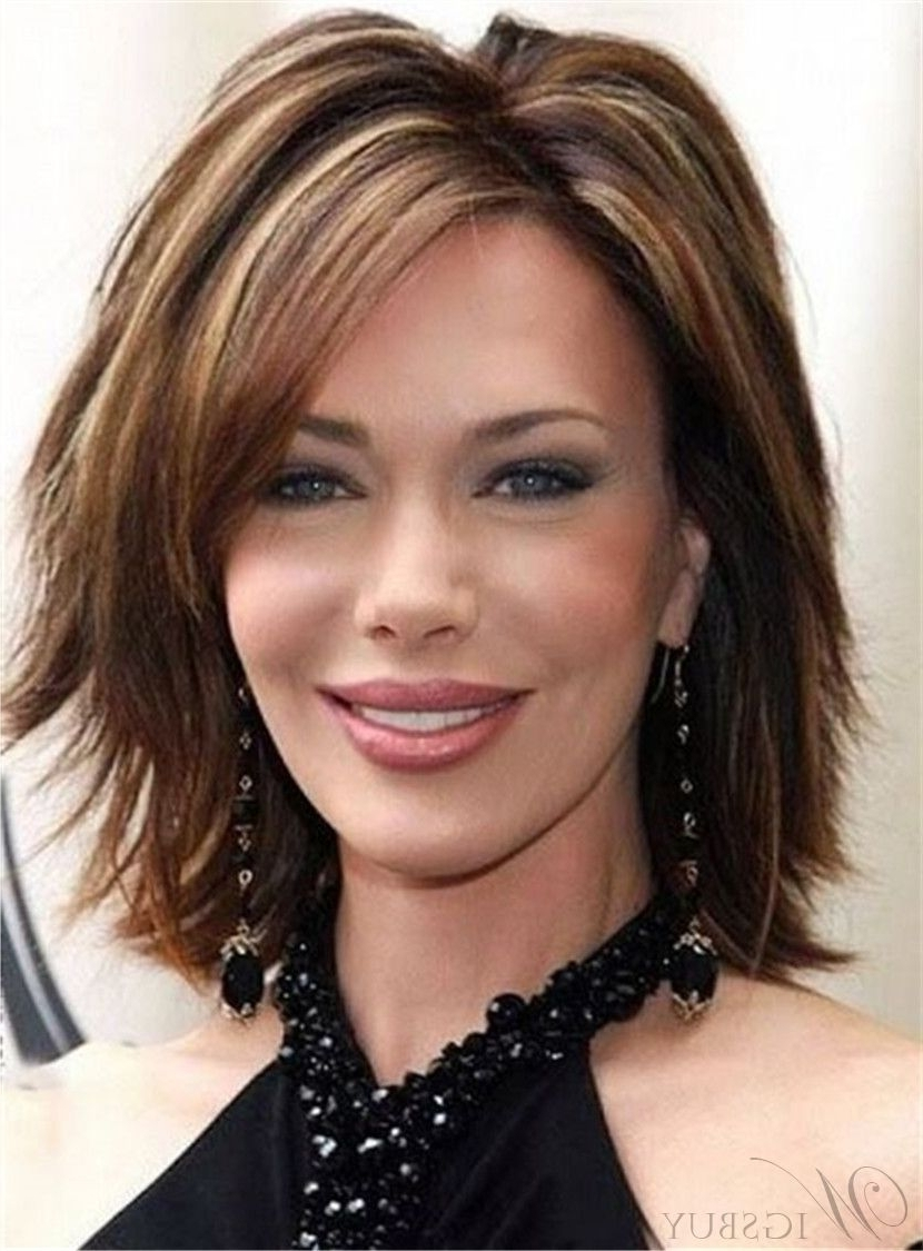 Well Known Layered Shaggy Bob Hairstyles Within Layered Cool Shaggy Bob Hairstyle Short Straight Human Hair Wig  (View 13 of 15)
