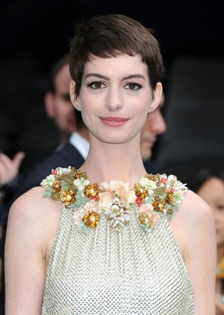 Widely Used Short Straight Pixie Haircuts Throughout Anne Hathaway Casual Short Straight Pixie Haircut – Hairstyles Weekly (View 20 of 20)