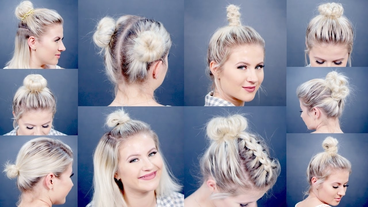 10 Easy Different Bun Hairstyles For Short Hair | Milabu – Youtube For Updo Hairstyles With Short Hair (View 11 of 15)