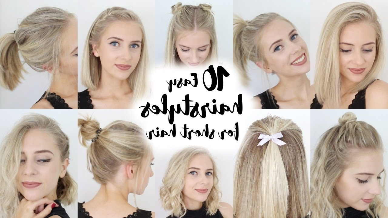 10 Easy Hairstyles For Short Hair – Youtube Within Super Easy Updos For Short Hair (View 1 of 15)