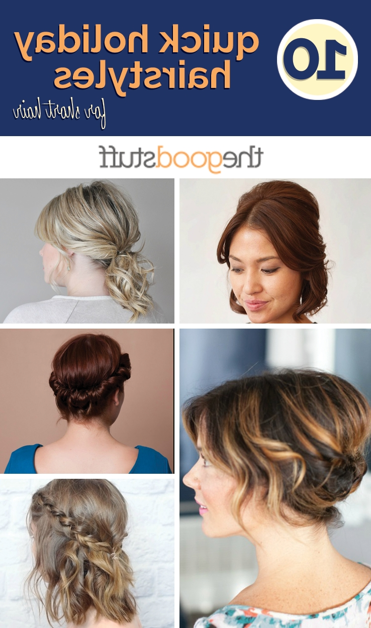 10 Quick Holiday Hairstyles For Short Hair – Thegoodstuff Inside Quick Braided Updo Hairstyles (View 1 of 15)