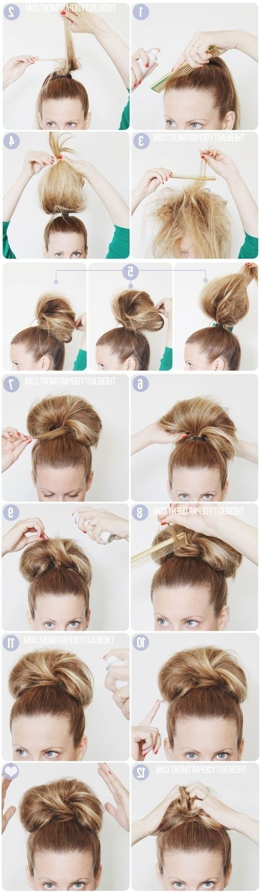10 Super Easy Updo Hairstyles Tutorials – Popular Haircuts With High Updo Hairstyles For Medium Hair (View 11 of 15)