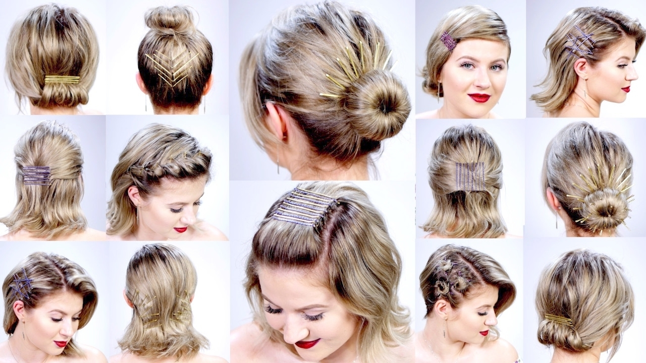 11 Super Easy Hairstyles With Bobby Pins For Short Hair | Milabu With Regard To Easy Updos For Very Short Hair (View 4 of 15)