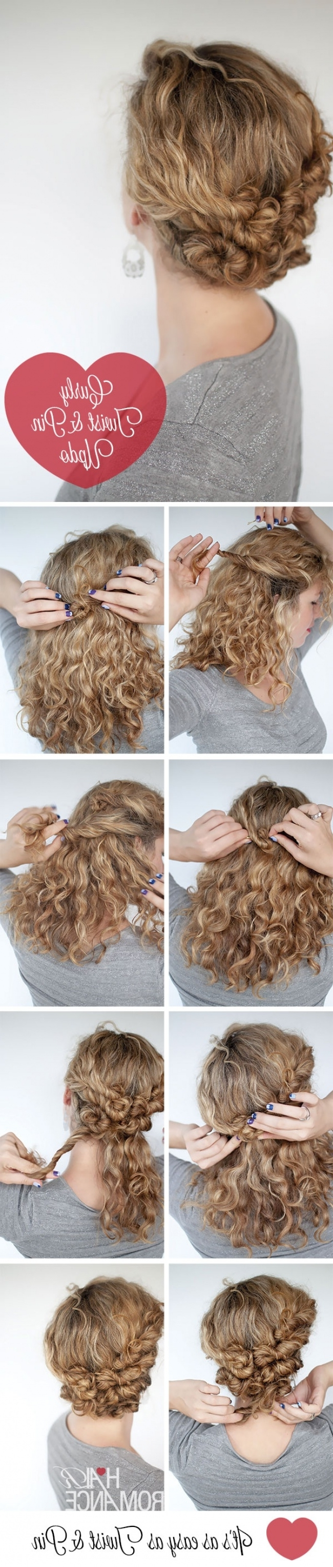 14 Fantastic Hairstyle Tutorials For Short And Naturally Curly Hair Inside Easy Updos For Long Curly Hair (View 2 of 15)