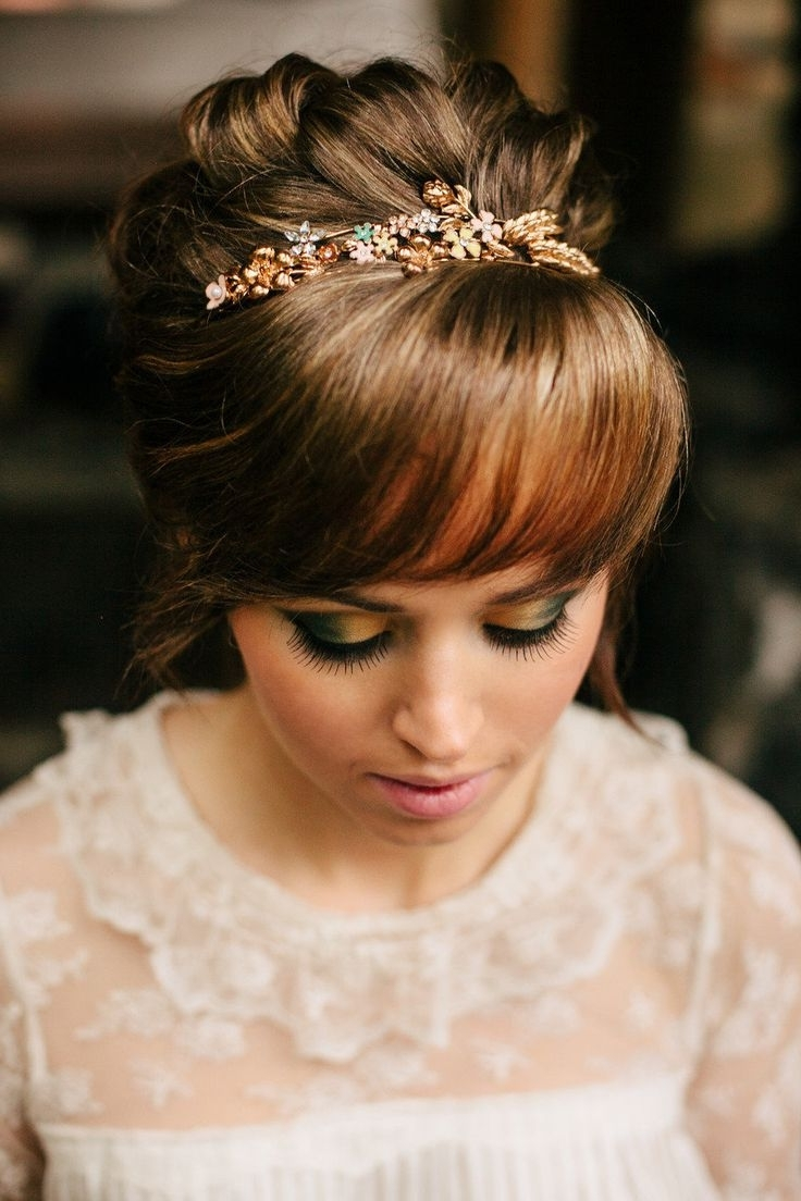 15 Gorgeous Bridal Hair With Bangs – Pretty Designs With Wispy Updo Hairstyles (View 1 of 15)