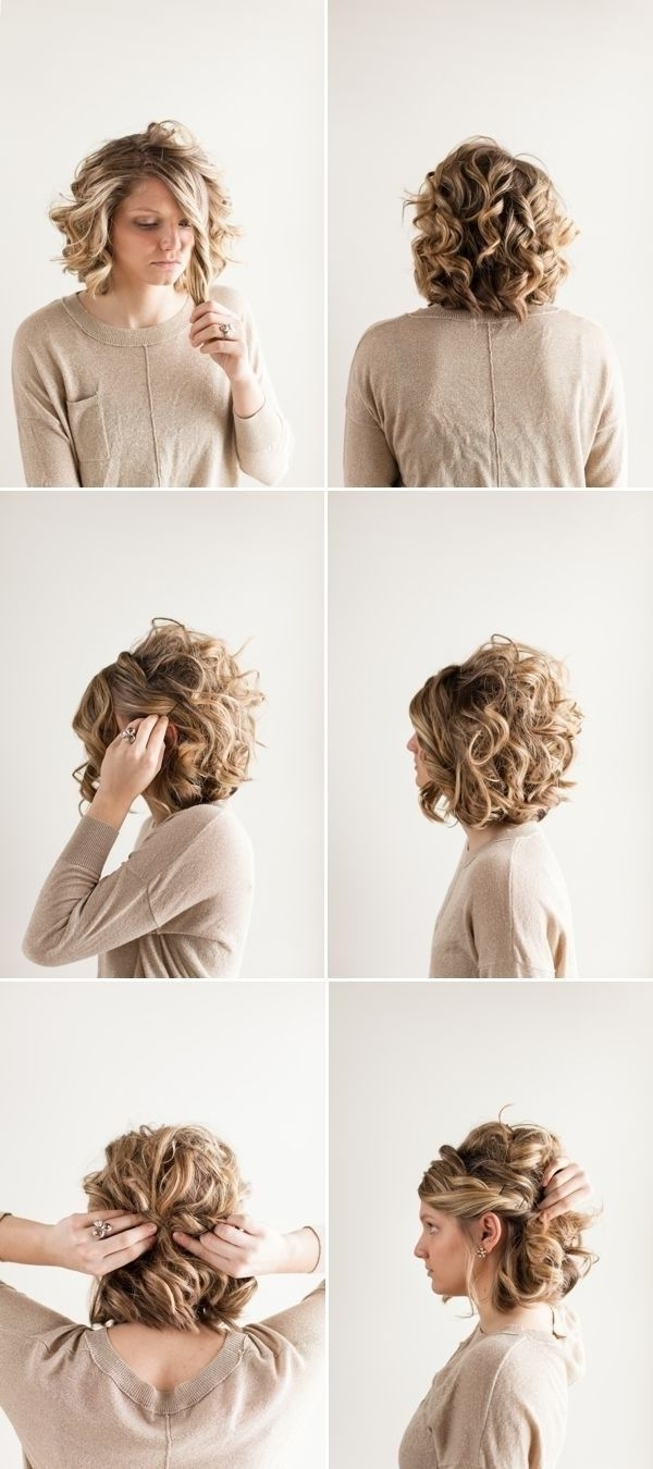 18 Pretty Updos For Short Hair: Clever Tricks With A Handful Of For Updo Hairstyles For Medium Curly Hair (View 1 of 15)