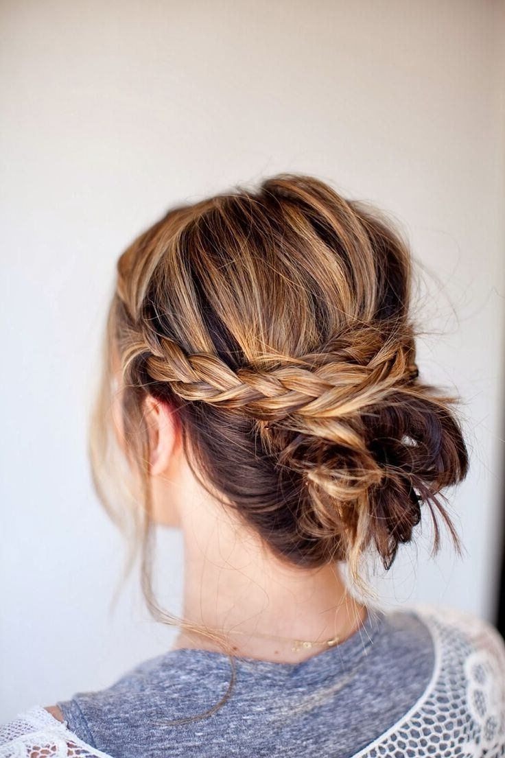 18 Quick And Simple Updo Hairstyles For Medium Hair | Messy Braid Pertaining To Braided Bun Updo Hairstyles (View 4 of 15)