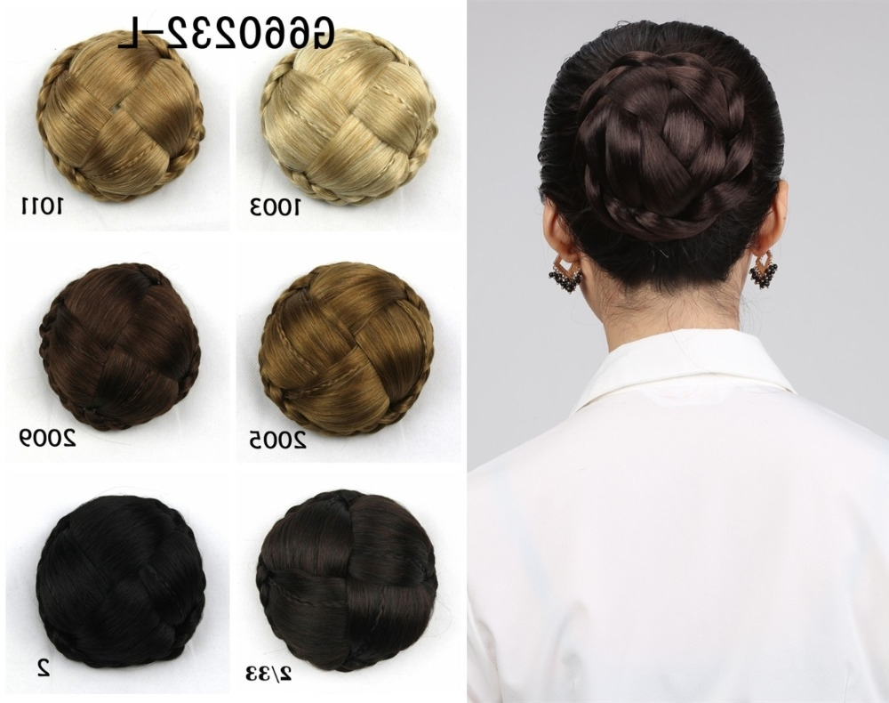1Pcs Bride Hair Bun Elastic Drawstring Chignon Braided Bun Hairpiece Throughout Braided Updo Hairstyles With Extensions (View 1 of 15)