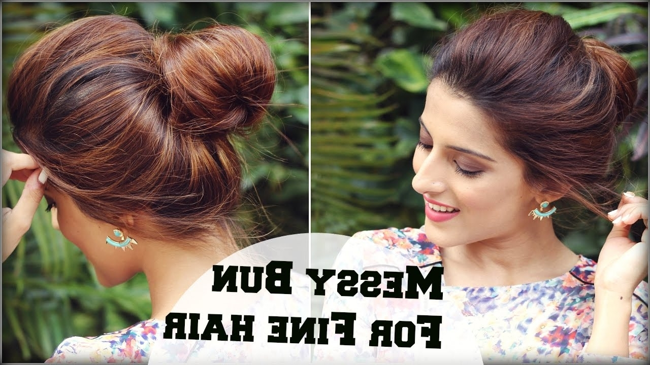 2 Min Easy Everyday Top Messy Bun Hairstyle For Fine / Thin Hair For Intended For Wedding Updos For Fine Thin Hair (View 3 of 15)