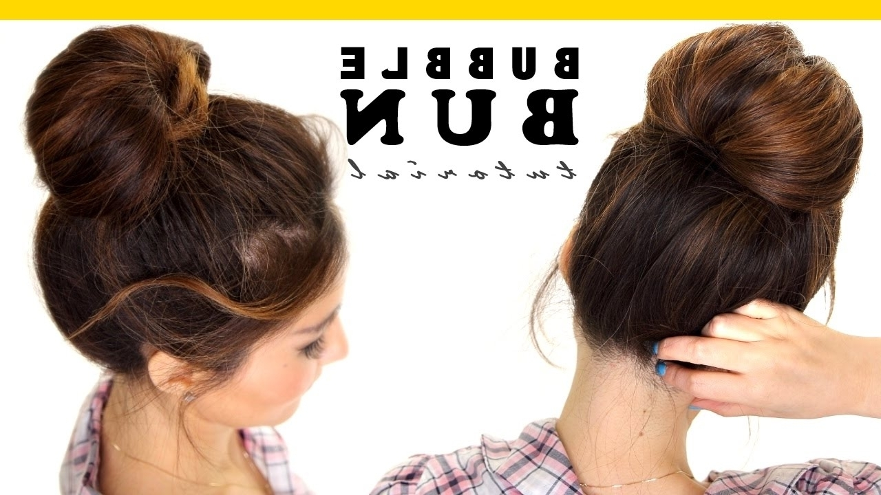 2 Minute Bubble Bun Hairstyle | Easy Hairstyles For Medium Long Hair Throughout Long Hair Updo Hairstyles For Work (View 1 of 15)