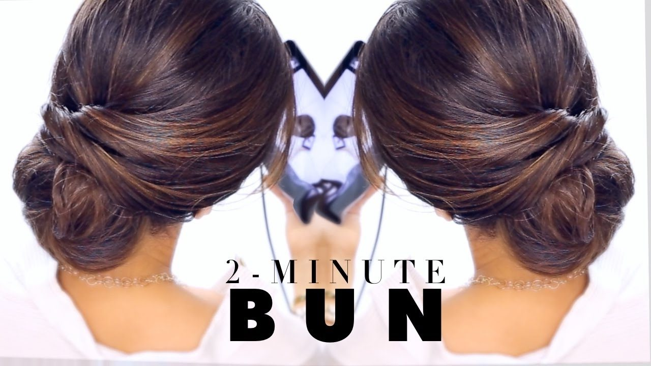 2 Minute Elegant Bun Hairstyle ☆ Easy Updo Hairstyles – Youtube With Regard To Easiest Updo Hairstyles (View 3 of 15)