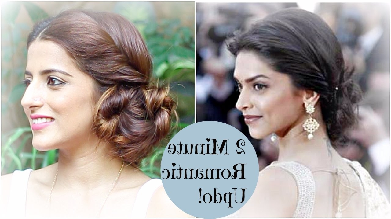2 Minute Romantic Bun Hairstyle – Deepika Padukone | Easy Updo Inside Indian Updo Hairstyles (View 6 of 15)