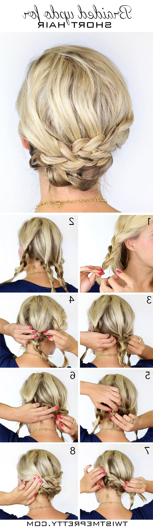 20 Diy Wedding Hairstyles With Tutorials To Try On Your Own Regarding Wedding Updo Hairstyles For Short Hair (View 3 of 15)