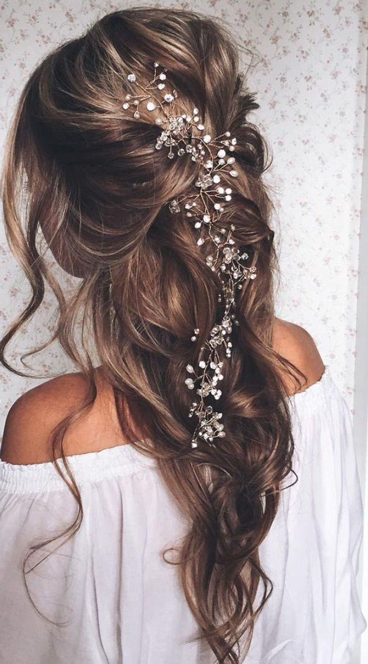 20 Elegant Wedding Hairstyles With Exquisite Headpieces | Wavy Pertaining To Long Hair Updo Accessories (View 1 of 15)
