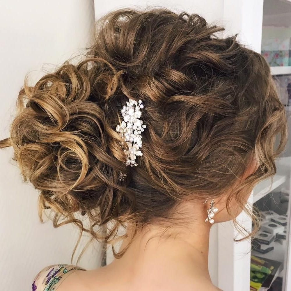 20 Soft And Sweet Curly Wedding Hairstyles | Curly Bun, Bun Updo And Throughout Curly Bun Updo Hairstyles (View 1 of 15)