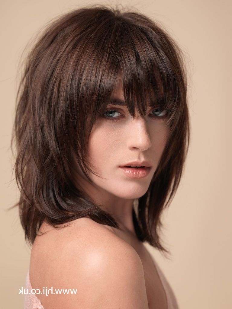 2015 Shaggy Haircuts Pictures | 2015 Dark Brown Layered Shag Inside Updos For Medium Hair With Bangs (View 12 of 15)