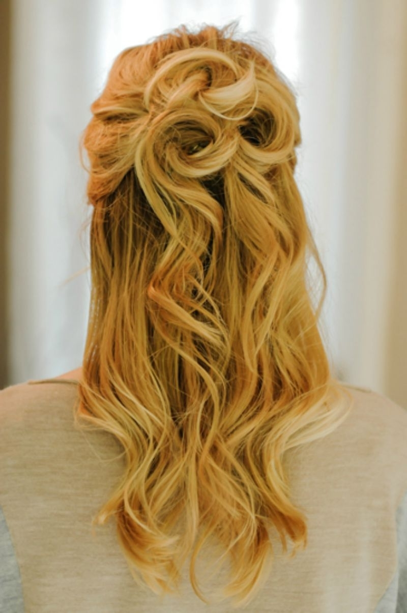 21 Gorgeous Half Up, Half Down Hairstyles | Babble With Regard To Curly Half Updo Hairstyles (View 11 of 15)