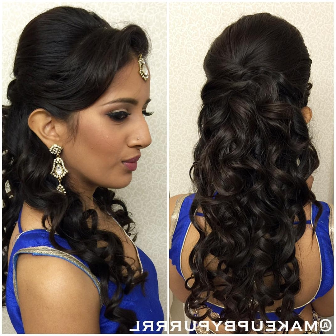 26 Best Hairstyles With Saree In 2017: New Ideas You Will Love! Within Loose Updos For Curly Hair (View 15 of 15)
