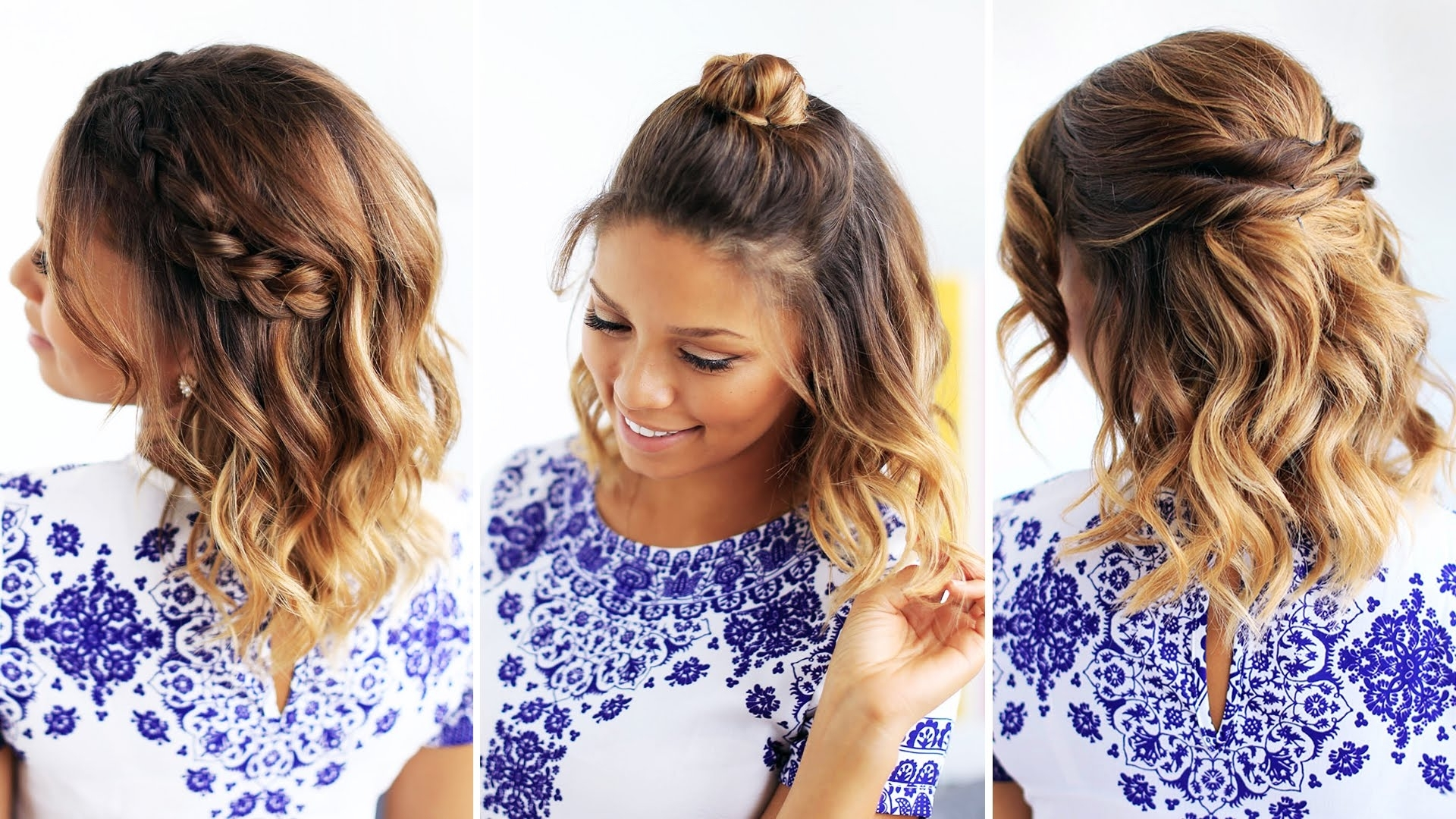 3 Easy Hairstyles For Short Hair – Youtube Pertaining To Cute Updos For Short Hair (View 4 of 15)