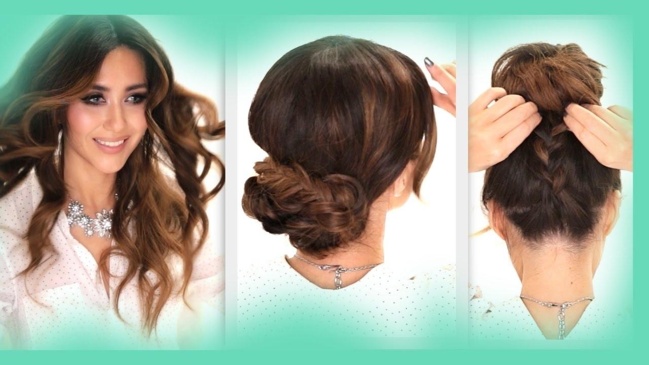 3 Easy Hairstyles | School Braids + Curls + Messy Bun Hairstyle Intended For Updo Hairstyles For School (View 5 of 15)
