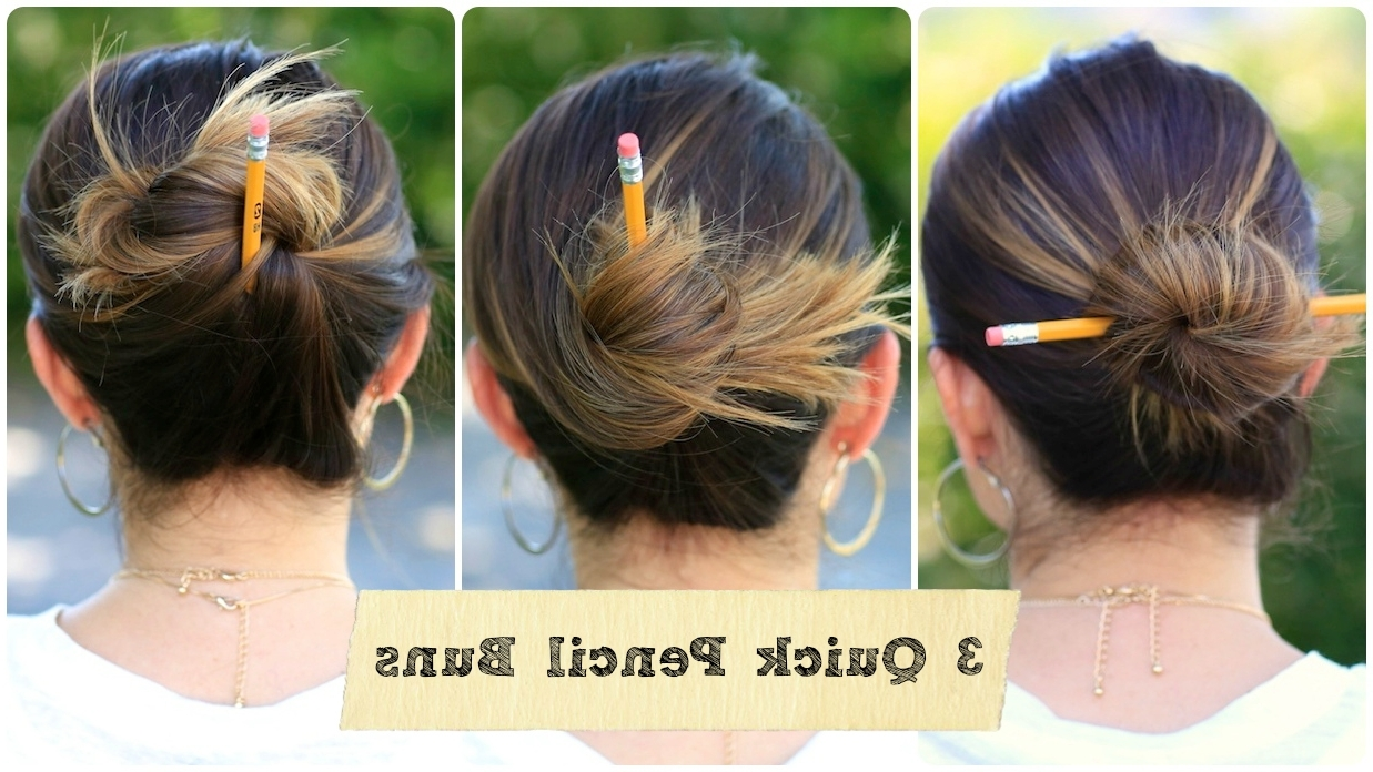 3 Easy Pencil Bun Ideas | Back To School Hairstyles | Cute Girls With Regard To Updo Hairstyles For School (View 6 of 15)