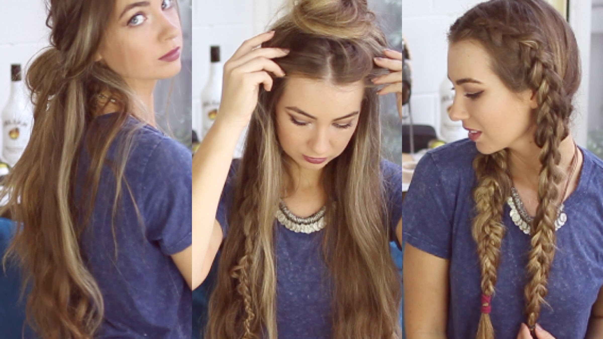 3 Quick And Easy Boho Hairstyles // Cute Heatless Hairstyles – Youtube Within Boho Updos For Long Hair (View 3 of 15)