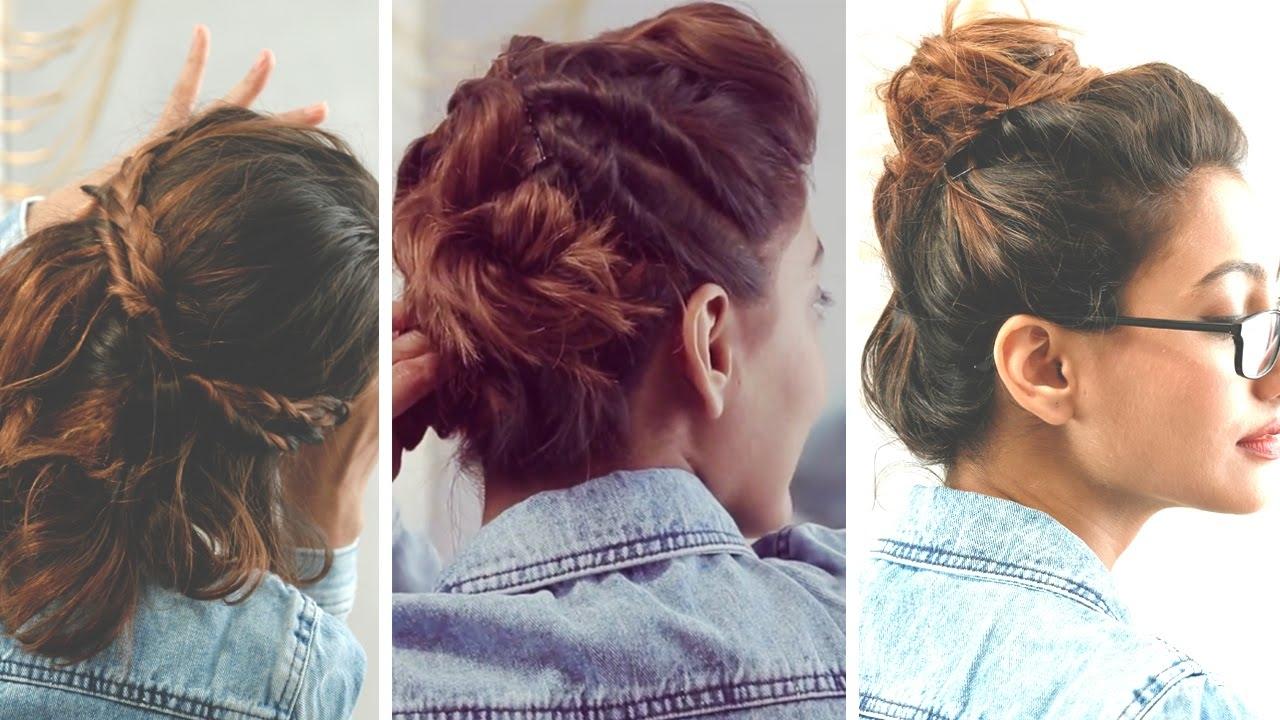 3 Quick And Easy Hairstyles For Short Hair | No Heat Required – Youtube Intended For Super Easy Updos For Short Hair (View 7 of 15)
