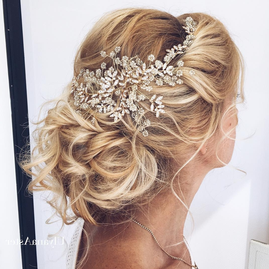 35 Romantic Wedding Updos For Medium Hair – Wedding Hairstyles 2018 With Long Hair Updo Accessories (View 2 of 15)