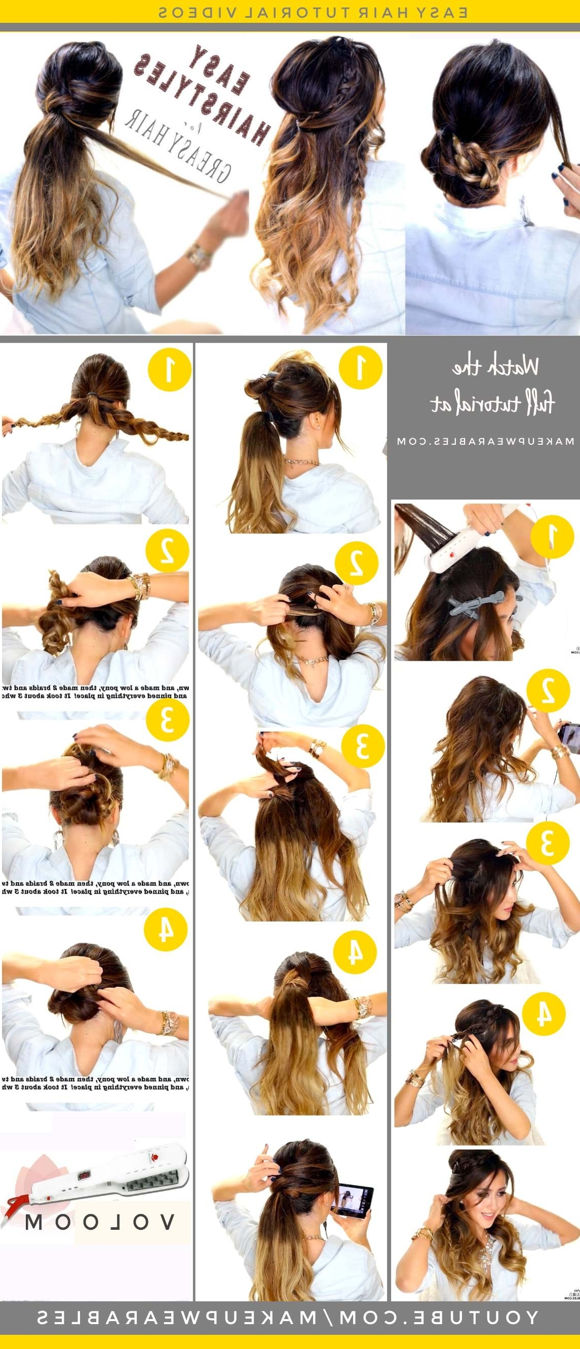 4 Easy Hairstyles For Greasy Hair | Cute Everyday Styles Throughout Long Hair Updo Hairstyles For Work (View 6 of 15)