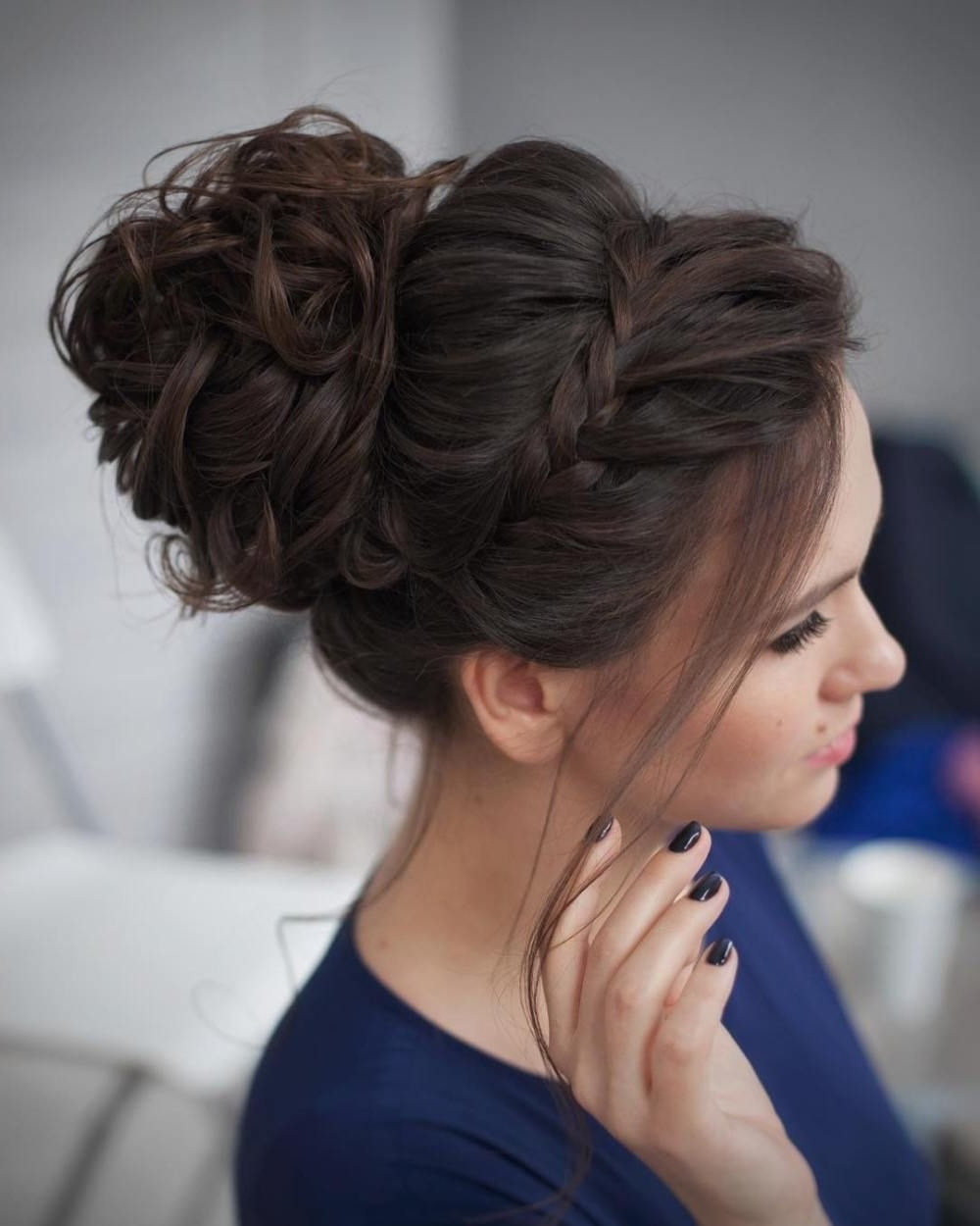 40 Most Delightful Prom Updos For Long Hair In 2018 | Curly Messy Throughout Curly Bun Updo Hairstyles (View 3 of 15)