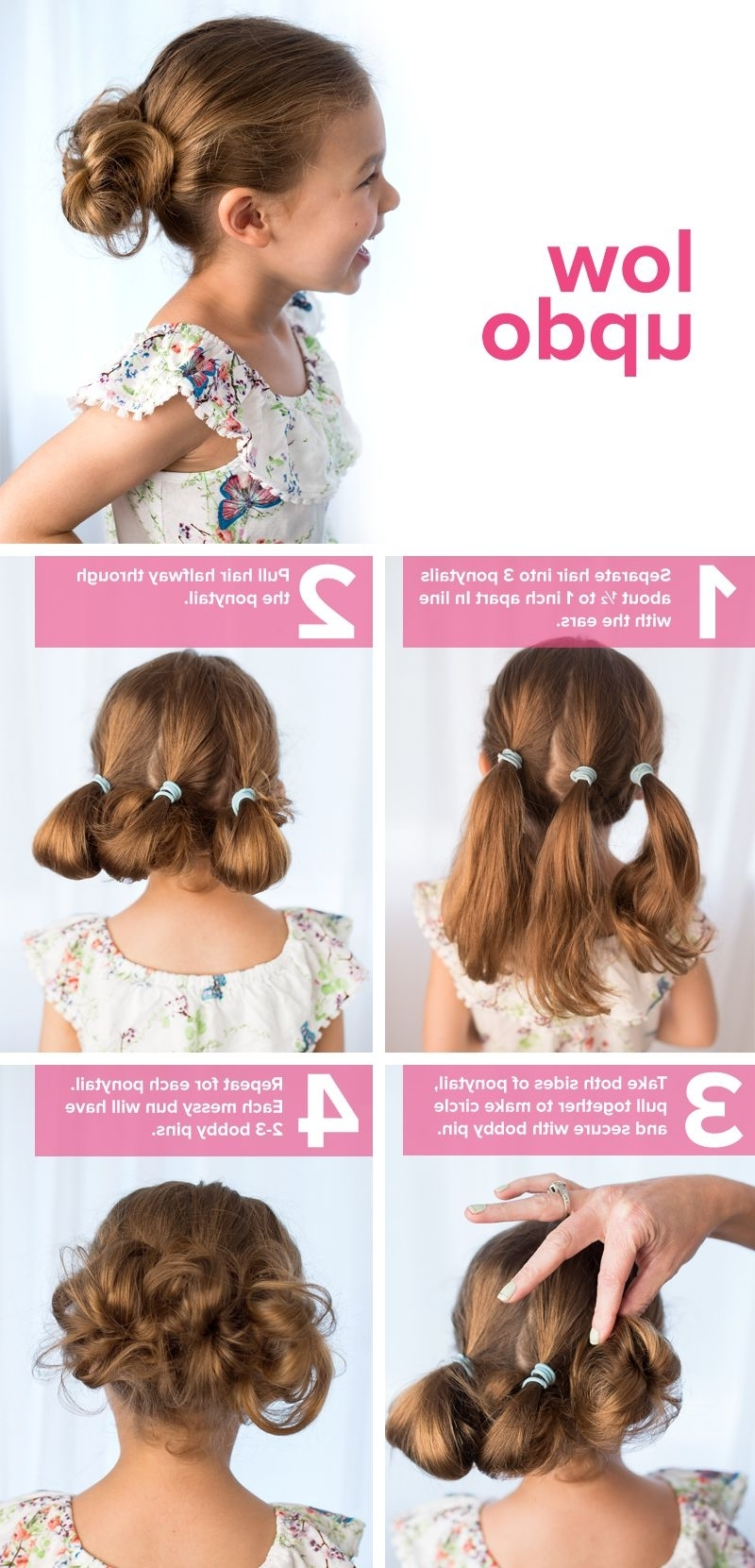 5 Fast, Easy, Cute Hairstyles For Girls | Low Updo, Updo And Kids S Regarding Quick And Easy Updo Hairstyles For Medium Hair (View 5 of 15)