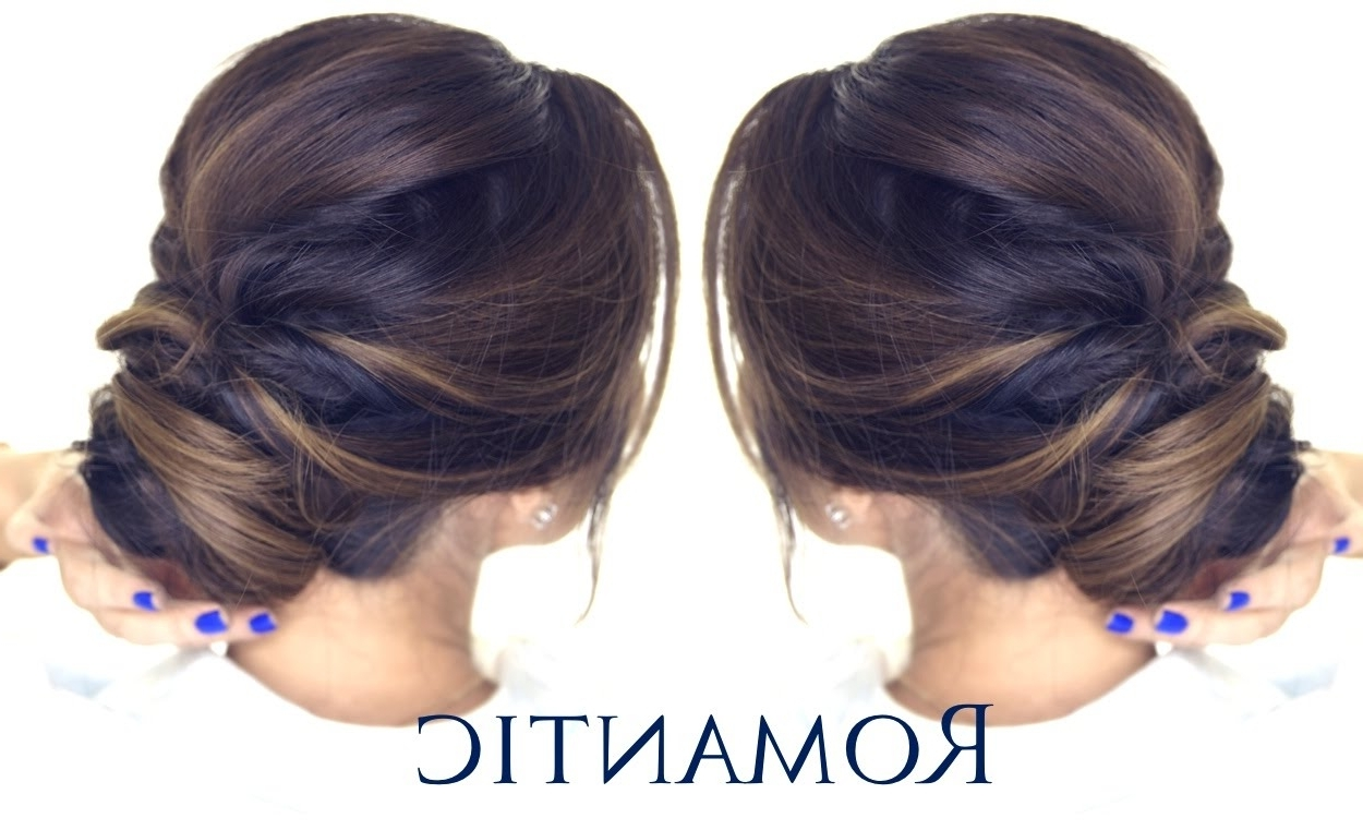 5 Minute Romantic Bun Hairstyle | Easy Updo Hairstyles – Youtube Intended For Simple Hair Updo Hairstyles (View 4 of 15)