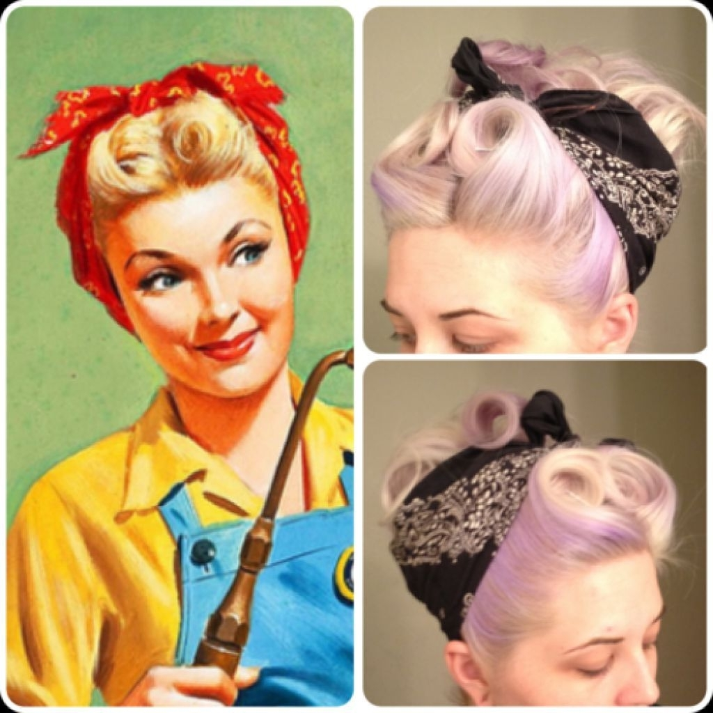 50's Bandana Hairstyle For Long Thin Hair Tutorial – Google Search Intended For 50s Updo Hairstyles For Long Hair (View 11 of 15)