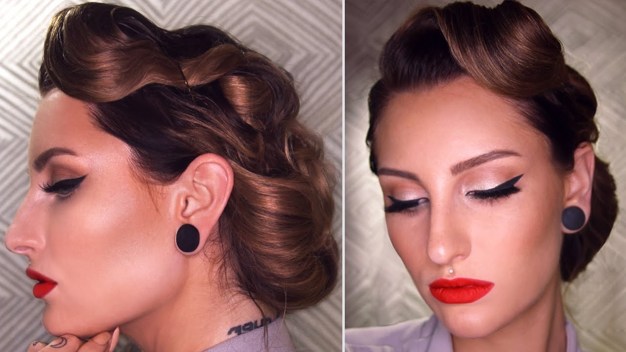 50's Inspired Vintage Updo Hairstyle Tutorial – Youtube Regarding Easy Vintage Updo Hairstyles (View 2 of 15)