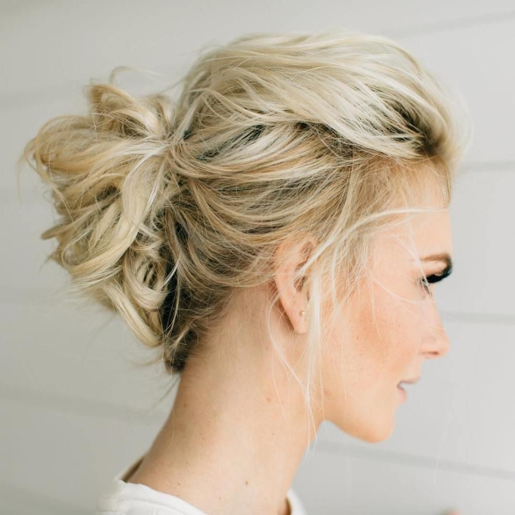 70 Darn Cool Medium Length Hairstyles For Thin Hair | Blonde Updo In Messy Updos For Medium Length Hair (View 13 of 15)