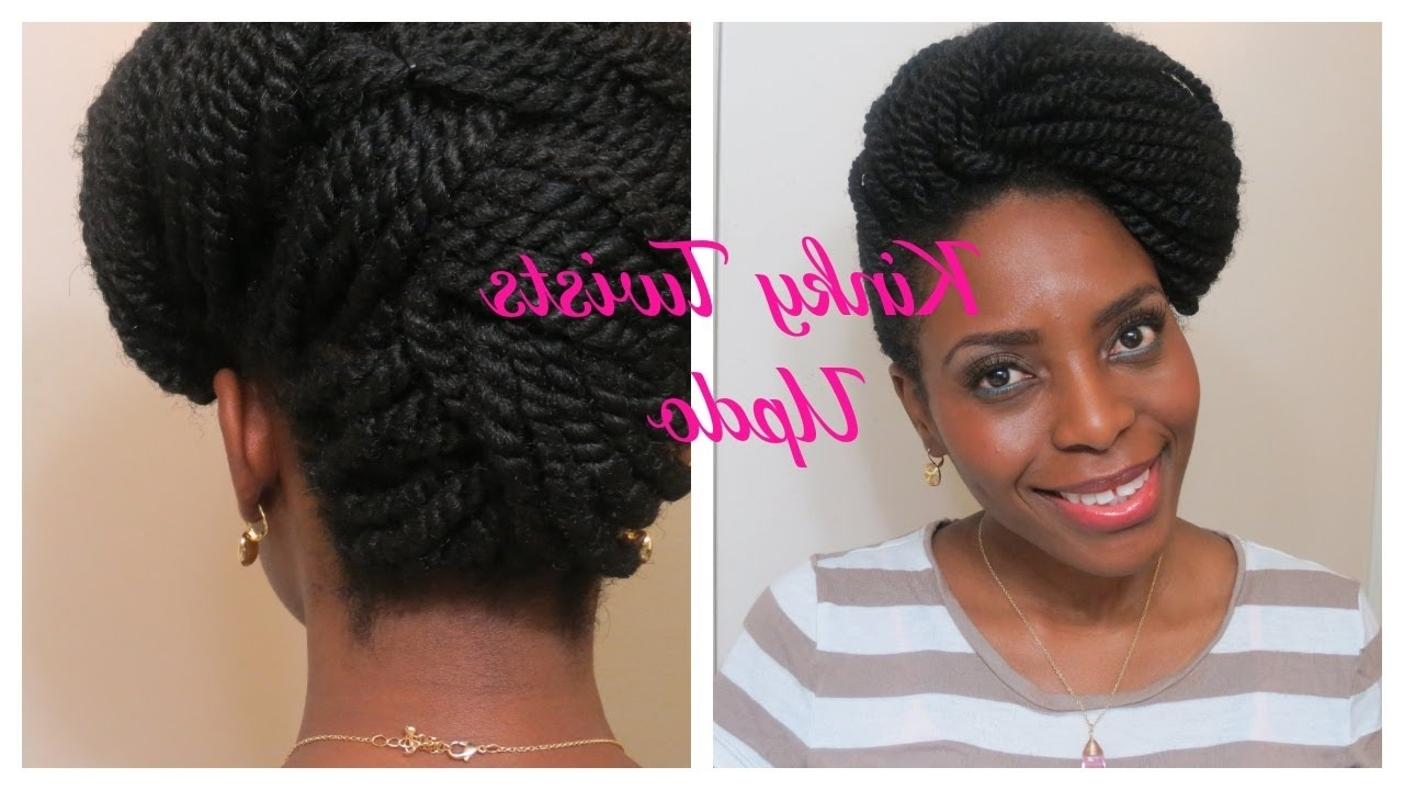 73* Kinky Twists Updo | Natura Hair Style – Youtube Intended For Braids And Twist Updo Hairstyles (Gallery 4 of 15)
