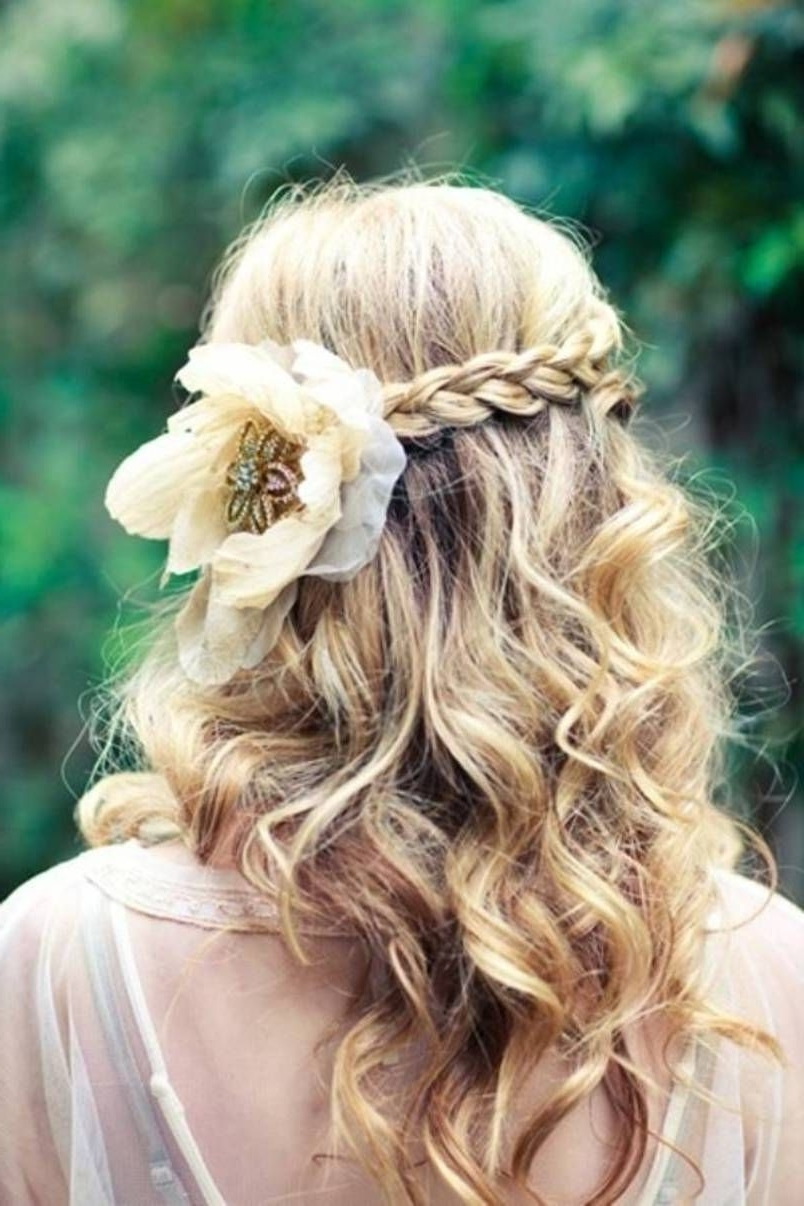 Adorable Long Curly Hair With A Braid! Doesn't Look Hard To Do In Curly Long Updos For Wedding (View 3 of 15)
