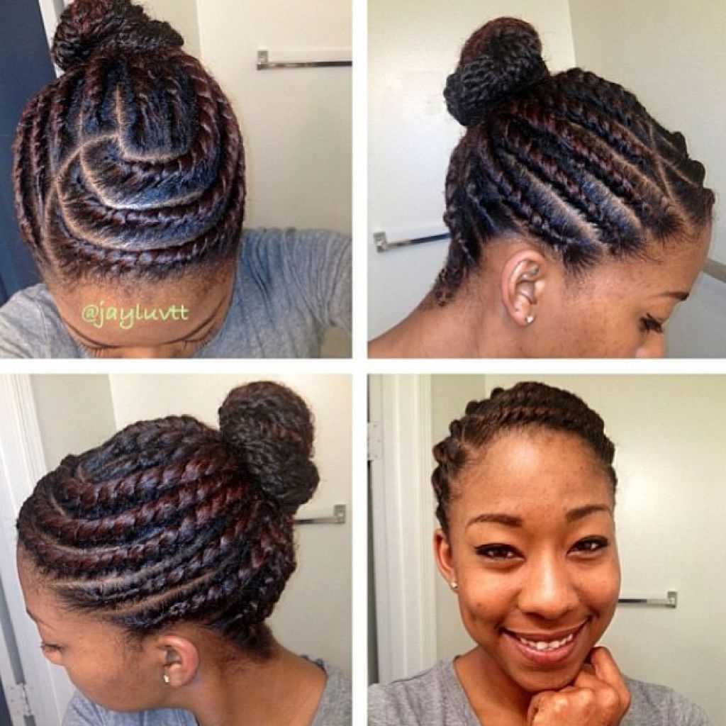 African American Bun Hairstyles – Women Medium Haircut Within Black Braided Bun Updo Hairstyles (View 12 of 15)
