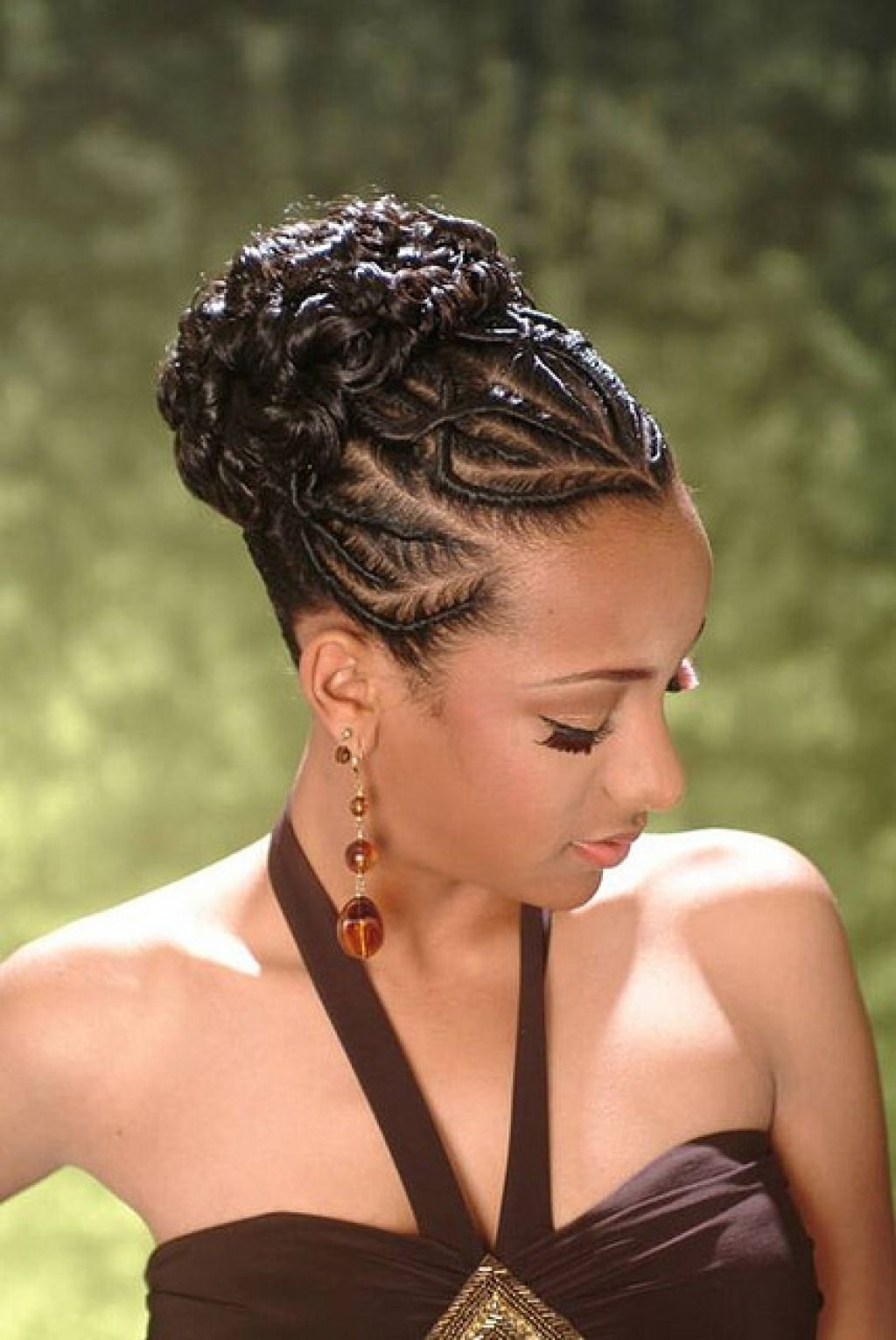 American French Braid Updo Hairstyles 2017 For Afro American Updo Hairstyles (View 8 of 15)