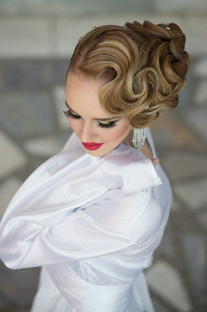 Beautiful Finger Wave Hairstyles With Updo For Long Hair #prom Inside Finger Waves Long Hair Updo Hairstyles (View 4 of 15)