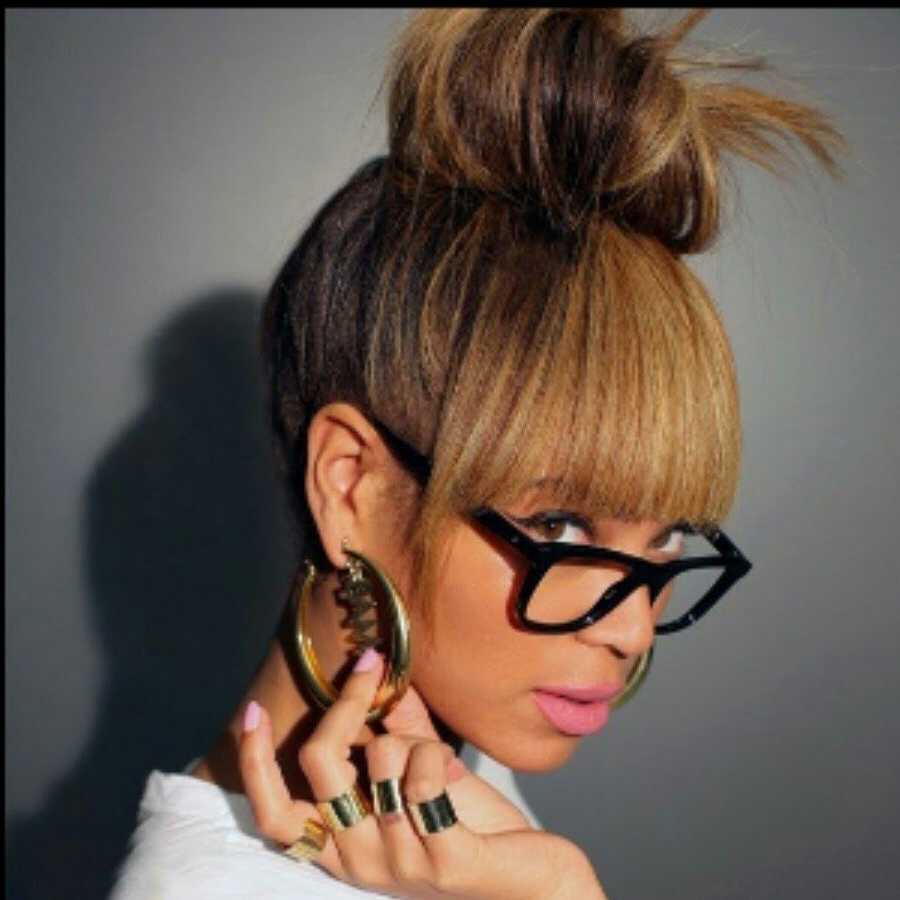Beyonce Inspired Bun & Bangs Tutorial (Faux Bangs) – Youtube Pertaining To Updo Hairstyles With Bangs (View 3 of 15)