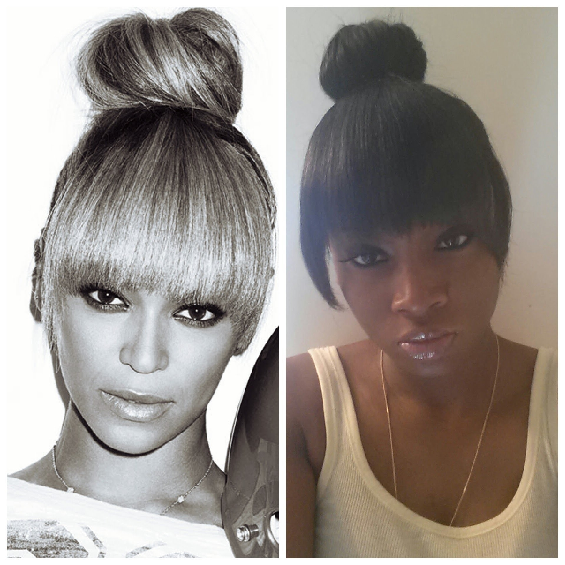 Beyonce Inspired High Bun With Bang Tutorial – Youtube Regarding Updo Hairstyles With Fringe Bangs (View 9 of 15)