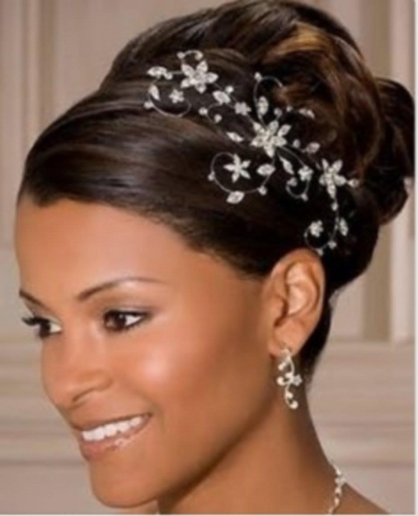 Photo Gallery Of Updo Hairstyles For Black Hair Weddings Viewing 6