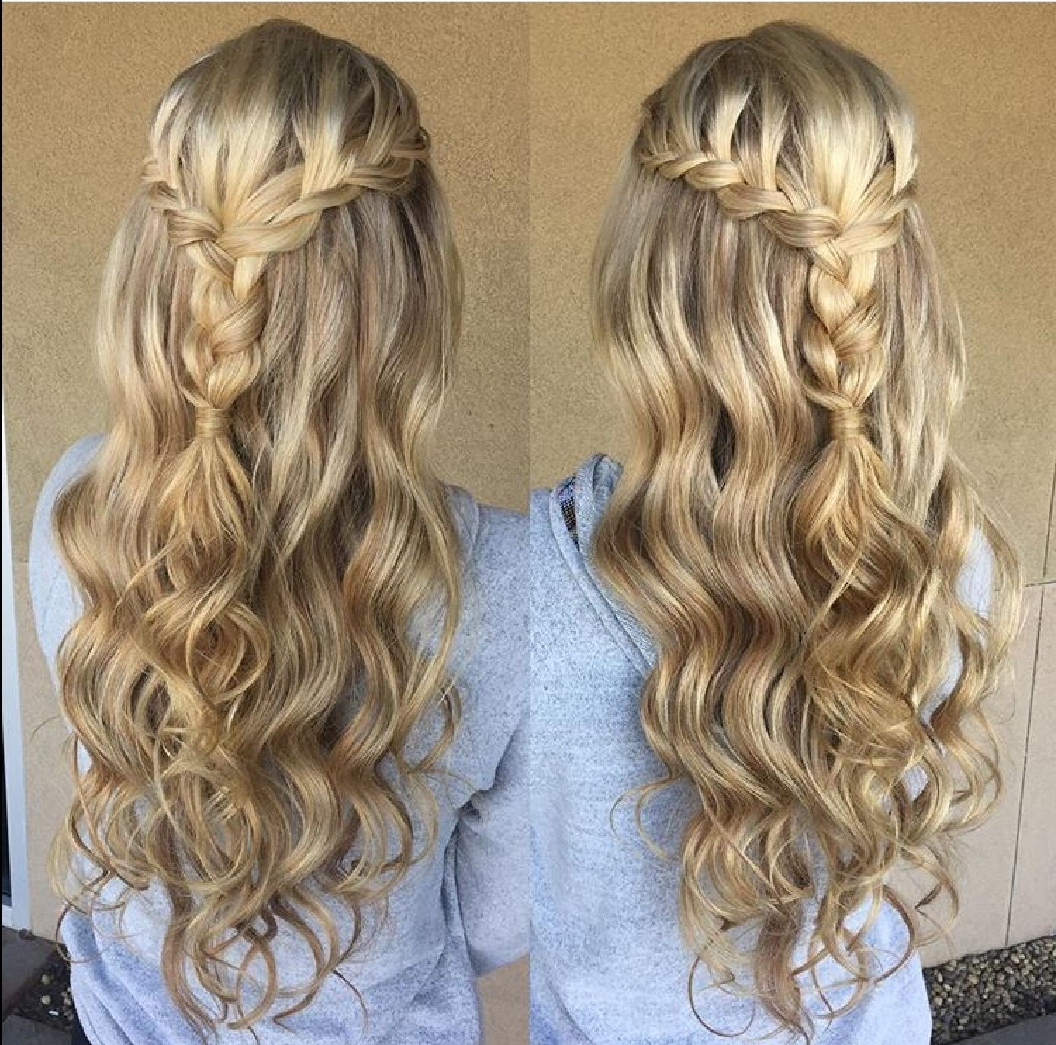 Blonde Braid Prom Formal Hairstyle Half Up Long Hair Wedding Updo Within Braided Hair Updo Hairstyles (View 4 of 15)