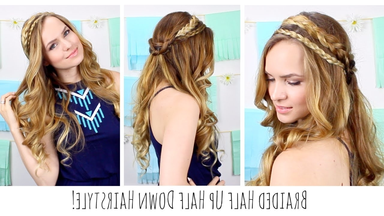 Boho Braided Half Up Half Down Hairstyle! – Youtube Pertaining To Braided Half Updo Hairstyles (View 3 of 15)
