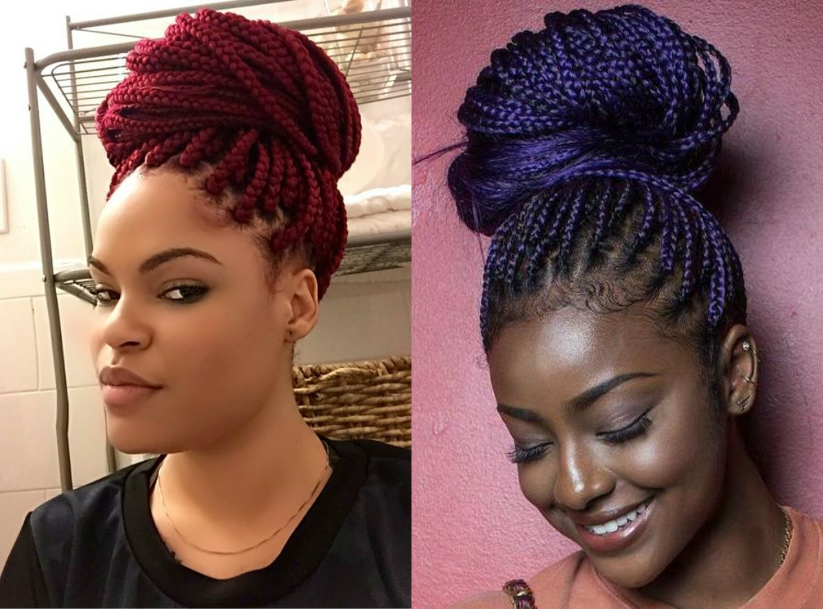 Box Braids Bun Hairstyles You Will Swear With | Hairstyles, Haircuts Regarding Black Braided Bun Updo Hairstyles (View 5 of 15)