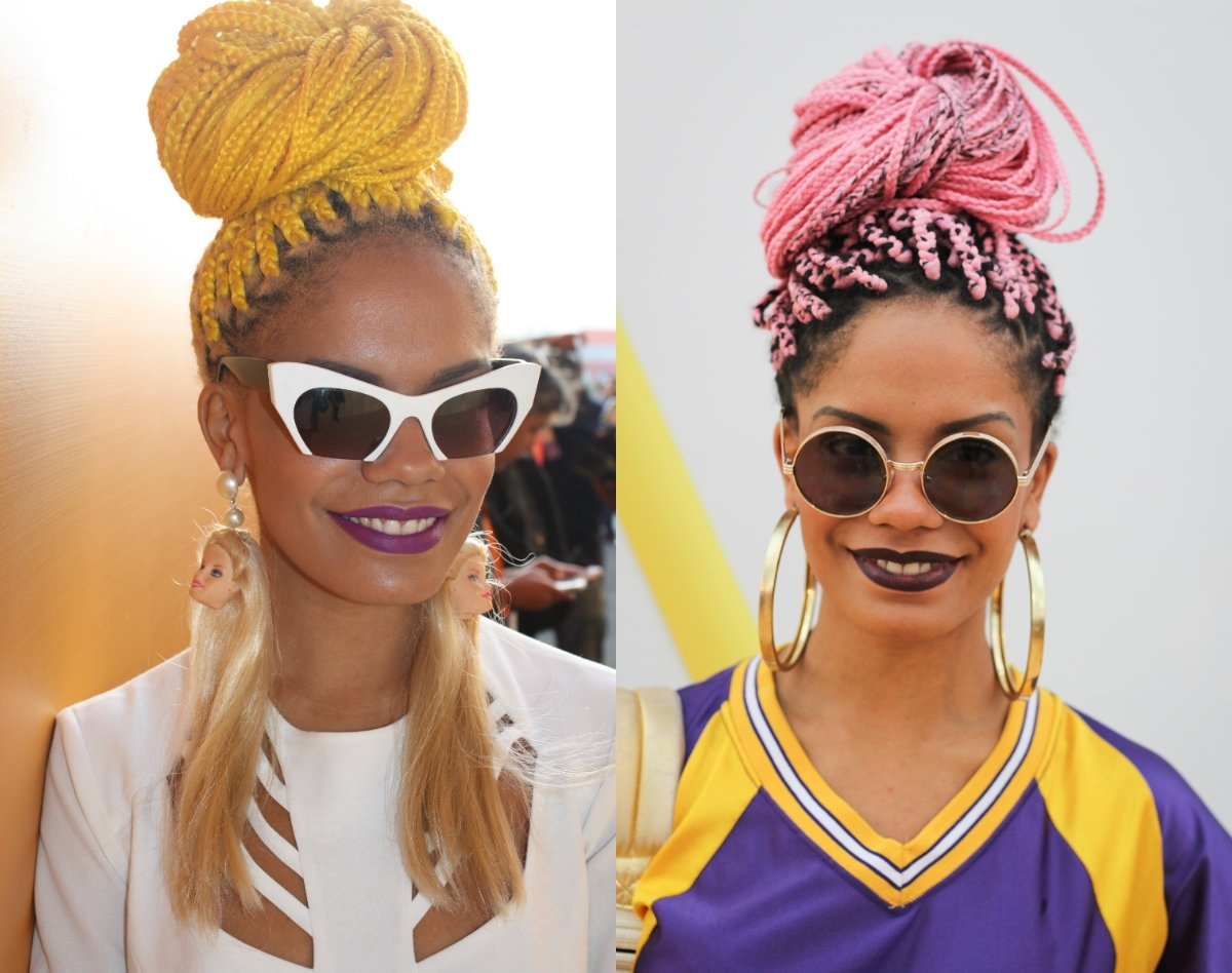 Photo Gallery Of Box Braids Updo Hairstyles Viewing 14 Of 15 Photos