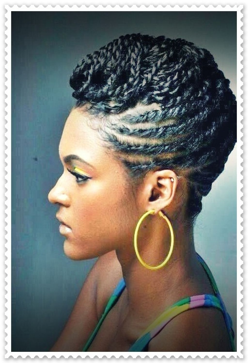 Braided Black Hairstyles Ideas With Braided Black Hairstyles Inside Elegant Cornrow Updo Hairstyles (View 4 of 15)