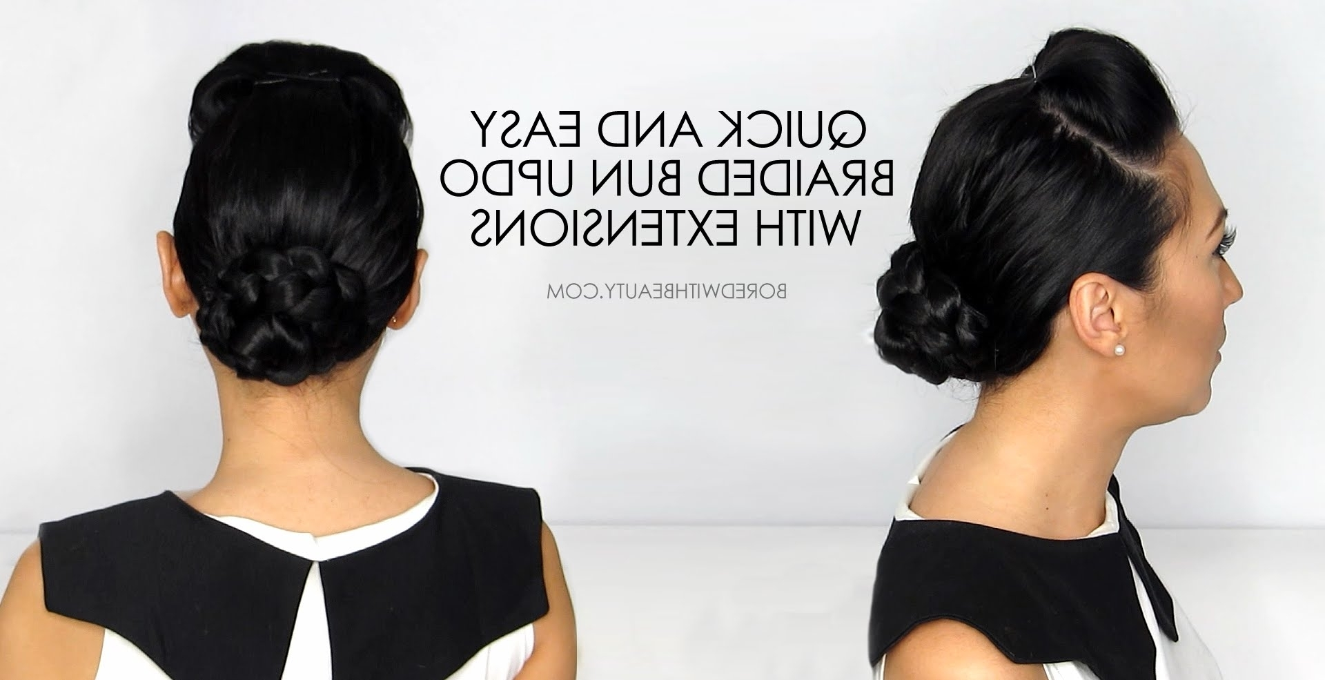 Braided Bun Updo For Short Hair With Extensions – Youtube Throughout Braided Updo Hairstyles With Extensions (View 4 of 15)
