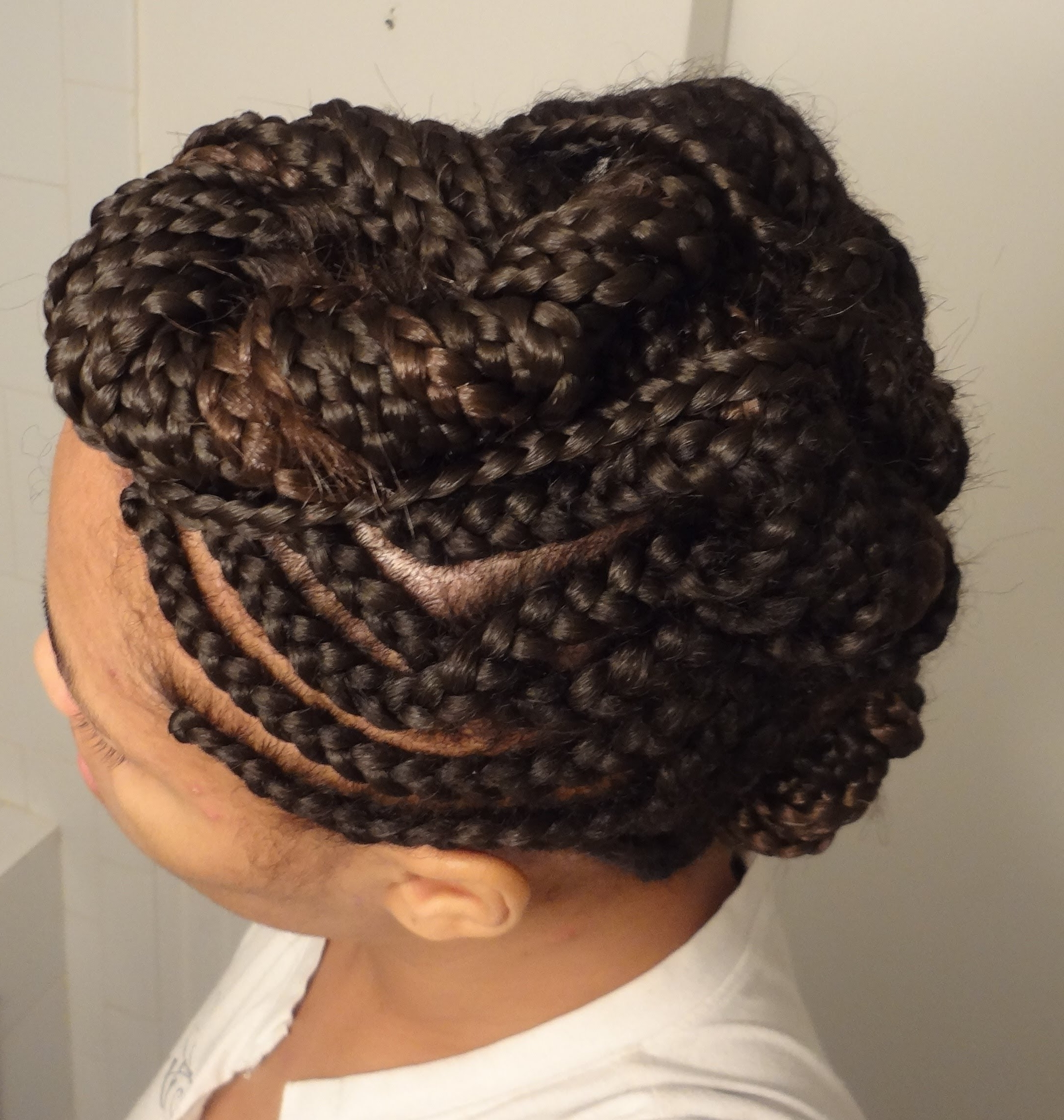 Braided Tuck And Roll Mohawk – Youtube Within Scalp Braids Updo Hairstyles (View 3 of 15)